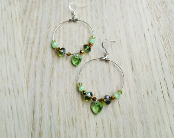 Love earrings/Golden Green/Valentine's Day gift idea