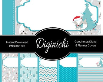Winter Foxes - Digital Covers for Goodnotes Digital Planners and Journals - PNG & Printable