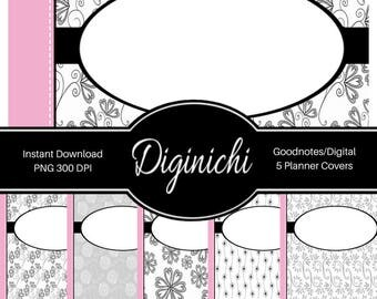 Pink, Black, White 01 - Digital Covers for Goodnotes Digital Planners and Journals - PNG & Printable