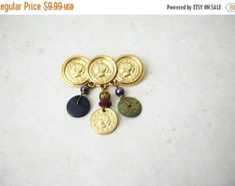 ON SALE Retro Gold Tone Replica Roman Coins Dangling Charms Metal Pin 62317