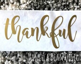 Thankful iron on, gold thankful decal, thanksgiving iron on, thanksgiving iron on decal, gold thankful, thankful vinil iron on