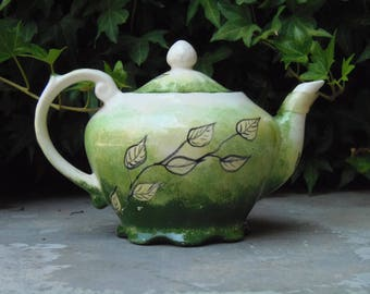 Green Handpainted Vintage Ceramic Teapot