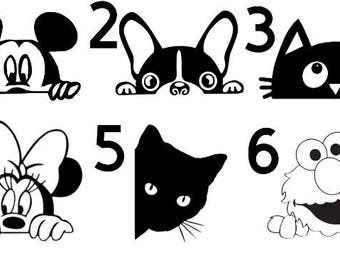 funny characters peaking out decal-dog-vinyl decal-car decal-free shipping