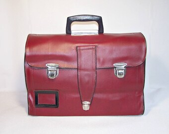 Vintage Leatherette Briefcase Made in the USSR. Burgundy Faux Leather Schoolbag. Retro Messenger Bag. Business Case. Gift for Him.