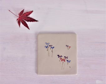 Small tile with flowers-handmade tile-tile floral pattern-small tile floral pattern-Dekofliese-production on order