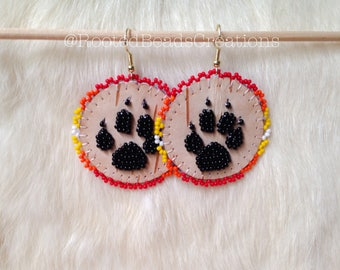 """Native American """"Journey Of The Wolf"""" Beaded Earrings"""