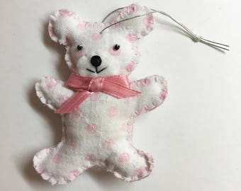 Pink Polka Dot Repurposed Baby Blanket Bear Ornament with Bow
