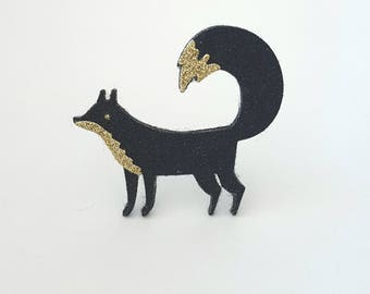 Black and gold glittery Fox brooch