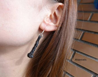 Braided genuine leather earrings braid ball 9.25 silver hooks braided leather genuine leather womens gift for her black leather