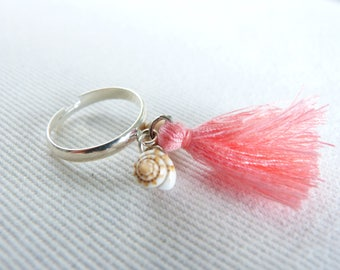 Chic bohemian ring was wooden beads, tassels pastel pink coral, pearls and shells