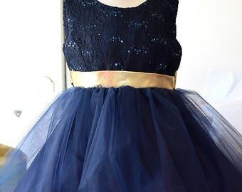 Flowergirl Navy Gold Silk Multi Layer Dress (0006)