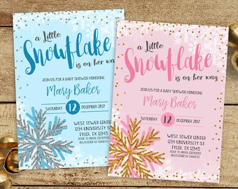 A Little Snowflake Is On The Way invitation, Winter Baby Shower Invitation, little Snowflake Baby Shower, Winter Wonderland Baby Shower