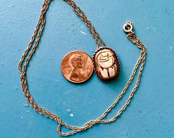 Vintage Egyptian Revival Scarab Necklace Sterling Silver Jewelry Delicate Chain Empowerment Sweet Statement
