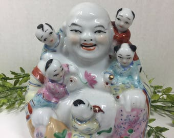 Vintage Laughing Buddha with Five Children Chinese Famille Rose Porcelain