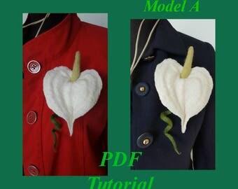PDF Tutorial, Flowers Tutorial, Instant Download, Wet Felting Tutorial, Nuno Felted Flower, Anthurium,  Felted Flower Tutorial, Felt Flowers