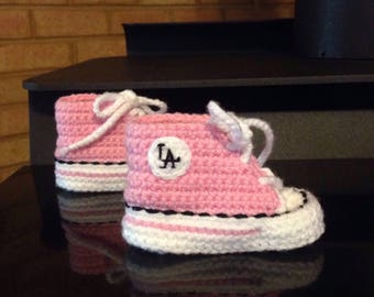 Girls Pink Crochet Baby SHOES, Girls BABY shoes, New York Yankees inspired converse shoes (Handmade by me and not affiliated with the MLB)