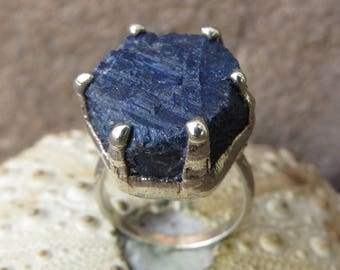 Rough sapphire silver plated ring | Blue sapphire hexagon ring