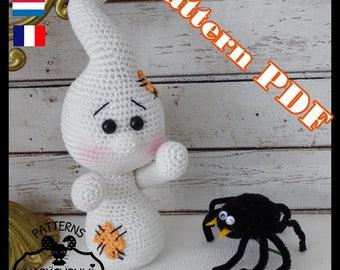 Crochet Pattern, pattern, tutorial, Amigurumi ghost Huuu