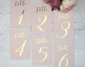 Blush Table Numbers - Wedding Table Numbers - Pink Table Numbers - Gold Table Decor - Pink Table Markers - Gold Foil Table Numbers - Blush