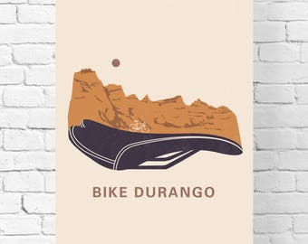 Mountain Bike - Colorado - Bicycle Wall Art – Wall Print - Wall Hangings - Cycling Gift – Durango Colorado – Minimalist Poster – Office Art
