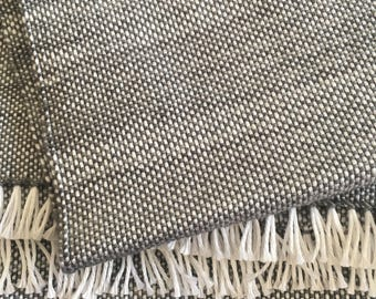 Grey and White Handwoven Scarf