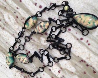 Bakelite Era Marbleized Celluloid Chain Necklace