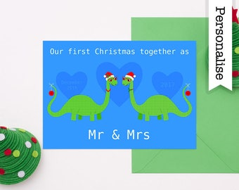 First Christmas As Mr And Mrs, Dinosaur Christmas Card, 1st Christmas Together, First Christmas Married, 1st Christmas Husband And Wife