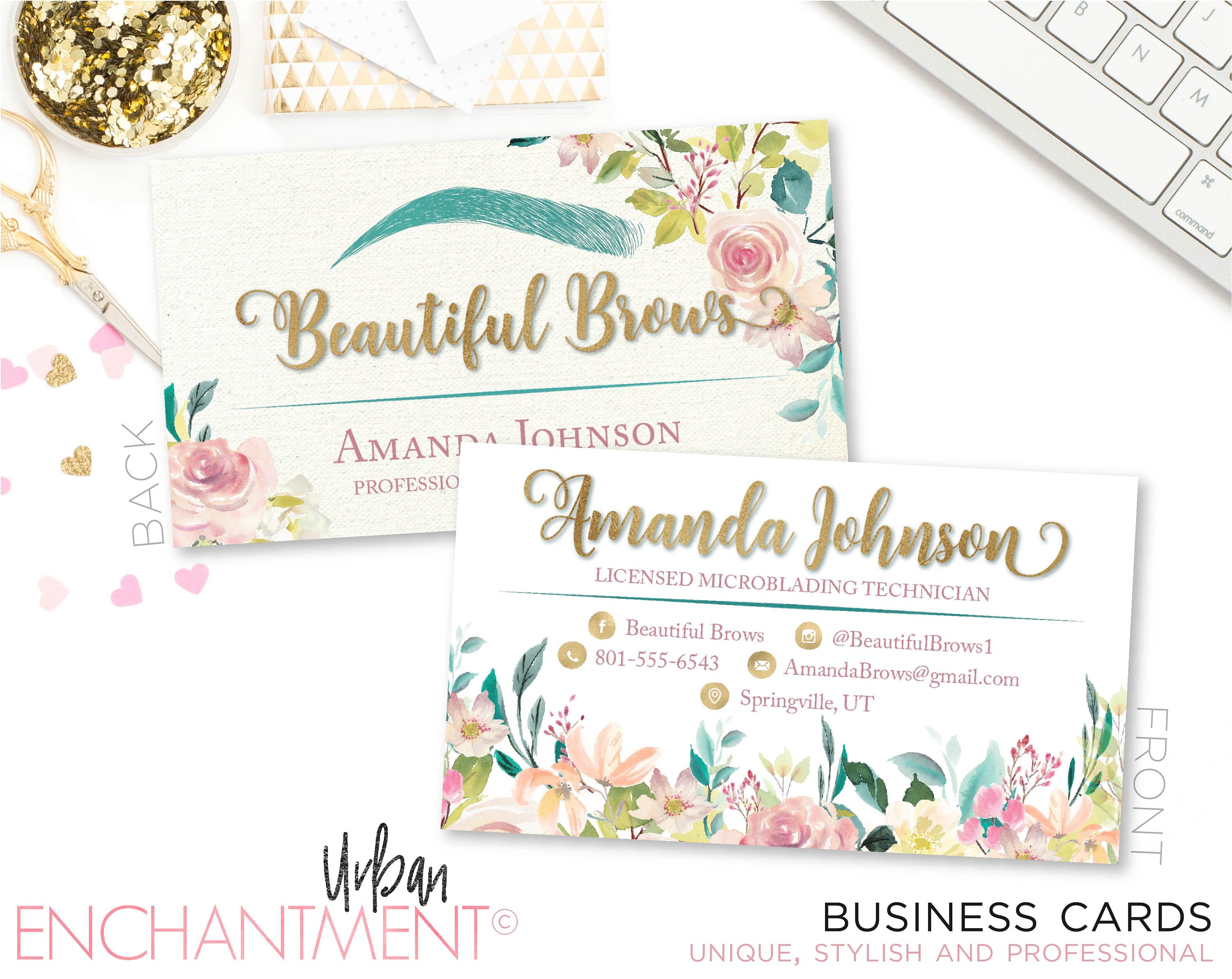 Microblading business card floral pink cosmetologist zoom magicingreecefo Image collections