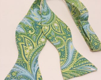 Green Teal Paisley Self Tie Bow Tie Adjustable Freestyle