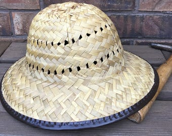 Vintage Safari/Archaelogical Dig/Sun Straw Hat, 1970s