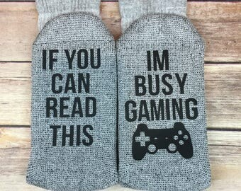 If You Can Read This Im Busy Gaming Socks, Funny Socks, Novelty Socks, Birthday, Graduation, Father's Day, Gift for Dad