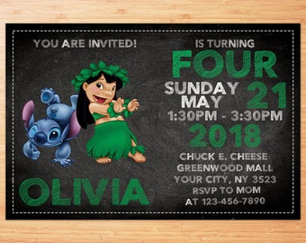 Lilo and Stitch Invitation, Lilo and Stitch Birthday, Lilo and Stitch Party, Lilo and Stitch Invitations, Personalized Invitation