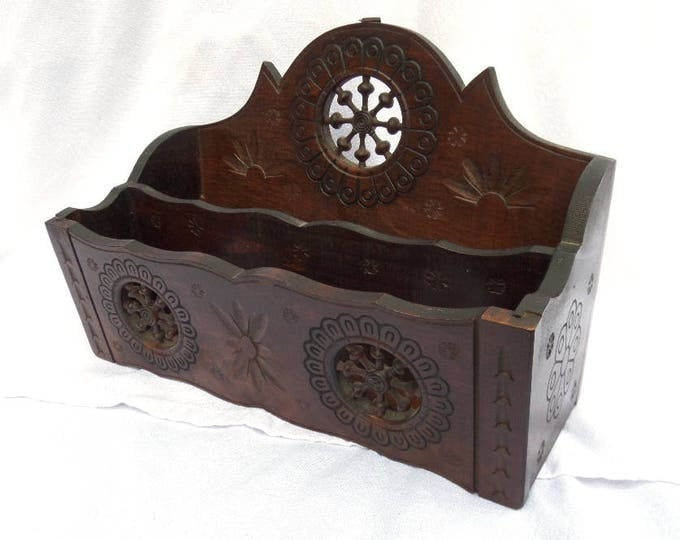 """French Letter Rack, Hand Carved in Northern France, French Folk Art Piece, Hand Carved Circa 1900, Maritime Theme, 11"""" x 6.75"""" x 8.25"""""""