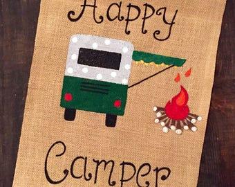 Happy camper flag/burlap garden flag/burlap camping flag/camping decor/camping gifts