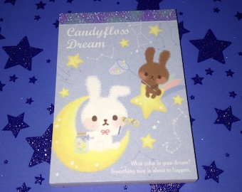 RARE Q-Lia Candyfloss Dream Mini Memo Pad 100pgs Kawaii Stationery Galaxy Bunny Notepad Scrapbooking Planner School Supplies Kids Gift