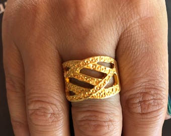 Metal ring, Gold plated ring, Adjustable ring