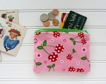 Cherries Novelty Coin Purse, Zipper Bag, Medicine Bag, Pacifier Bag, Small Make Up Bag, Zipper Bag Storage, Food Fabric Wallet