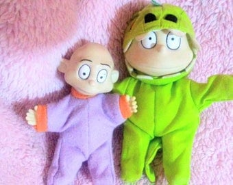 Rugrats Small Plush Dolls with Vinyl Heads - Rugrats - Tommy and Dill Pickles - 90s Cartoons - Nickelodeon - Rugrats Toys - Vintage