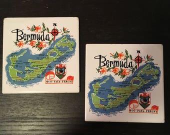 2 Large 6x6 Vintage 1950s mid century Bermuda souvenir ceramic tiles