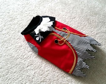 Small Dog Clothes, Captain Hook Dog Pirate Costume Halloween outfit Puppy Clothes Chihuahua Coat Yorkie Harness