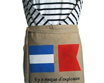 """Tablier homme ou femme d'inspiration maritime en toile beige marqué """"Il y a risque d'explosion"""""""