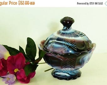 On Sale Purple Slag Glass Covered Candy Dish from Imperial Glass