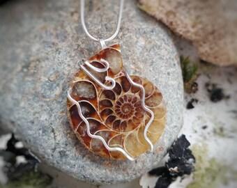 Ammonite Fossil Pendant // Fine Silver Shell Jewelry