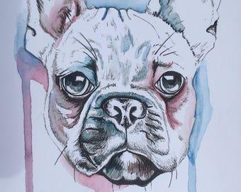 Hand-painted French Bulldog card