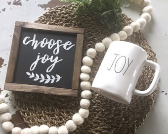 "Choose Joy | Black & White Farmhouse Sign | 8"" x 7-1/2"" Sign"