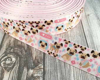 Pug ribbon - I love pugs - Puglife - Dog ribbon - Animal ribbon - Craft supplies - Do it yourself - Pug bow DIY - I love dogs - Puppy ribbon