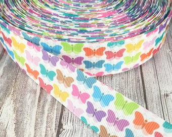 "Butterfly ribbon - 1"" grosgrain ribbon - Pastel ribbon - Easter ribbon - Spring ribbon - Bug ribbon - Pretty butterflies - Hair bow ribbon"