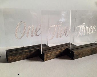 Wedding Table Numbers-Acrylic Table Numbers-Plexiglass Numbers-Seating Number-Wedding Centerpiece-Set of Ten Numbers