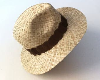 Indiana Hat Brown recycled leather decor.
