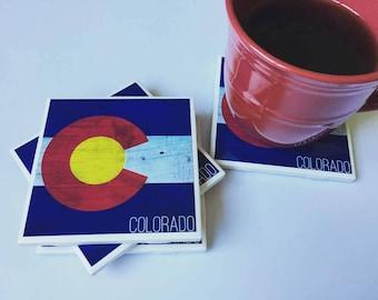 Colorado State Flag Coasters | Set of 4 - Colorado Gifts - Coaster Gifts - Colorado Symbol - Living Room Decor - Home Decor - Bar Decor